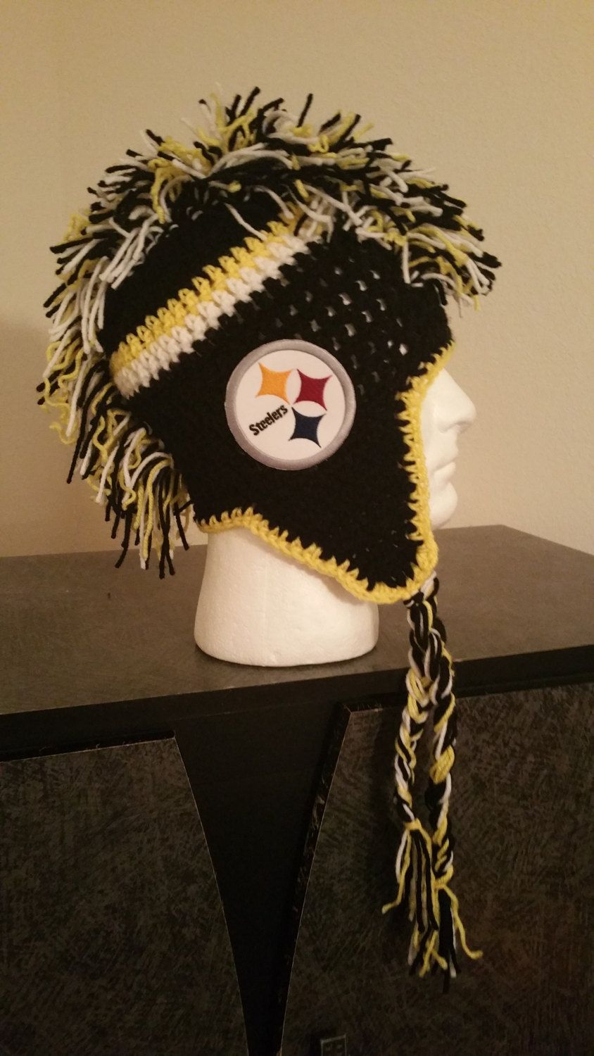 Pittsburgh steelers handmade crochet mohawk hat by wcdesignscrochet