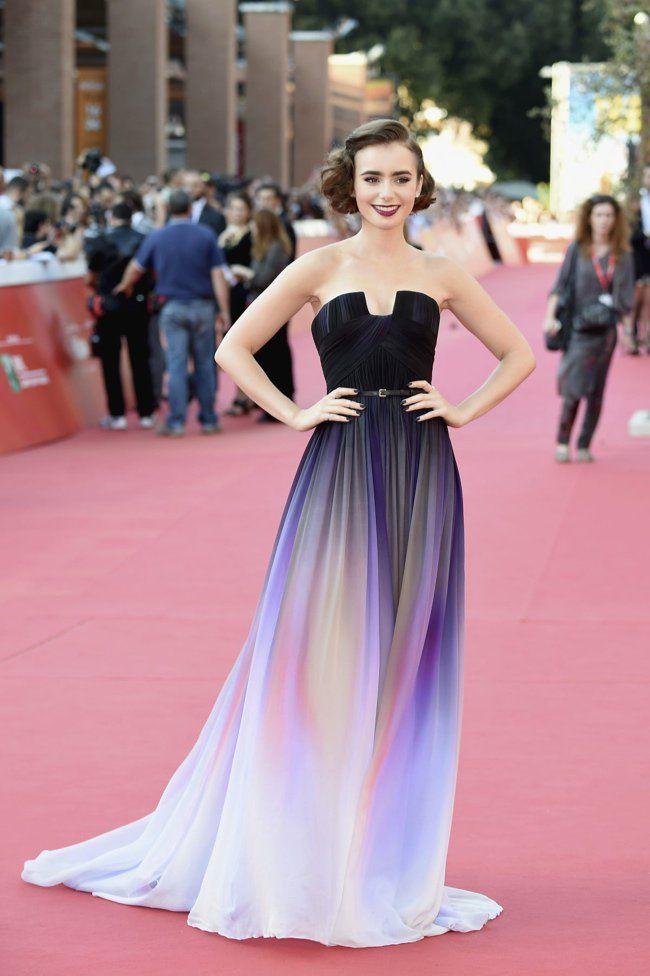 Lily Collins Wears Elie Saab Dress at \