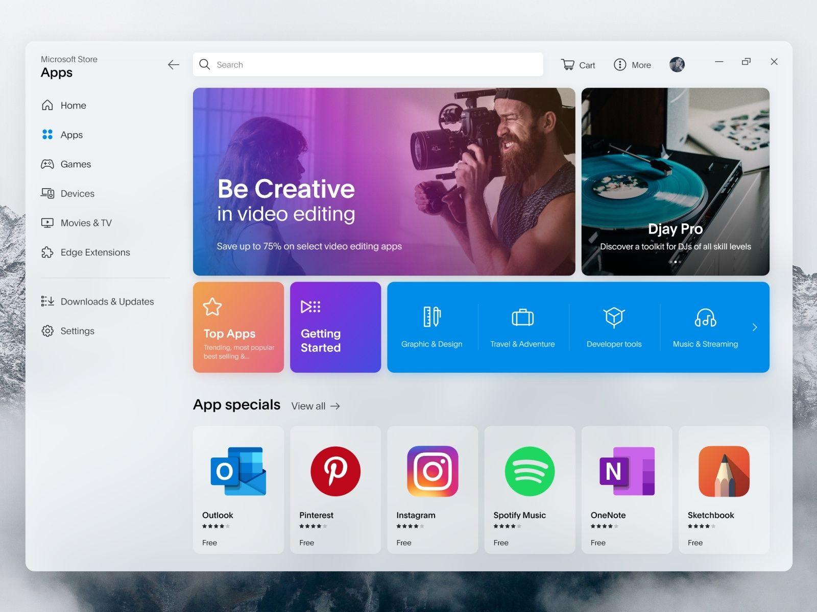 Microsoft store redesign windows app design web app