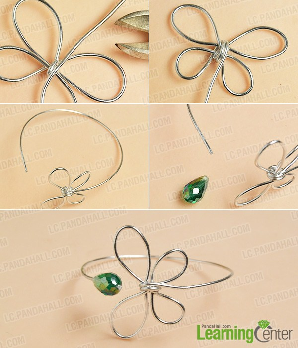 Silver wired Butterfly Bangle