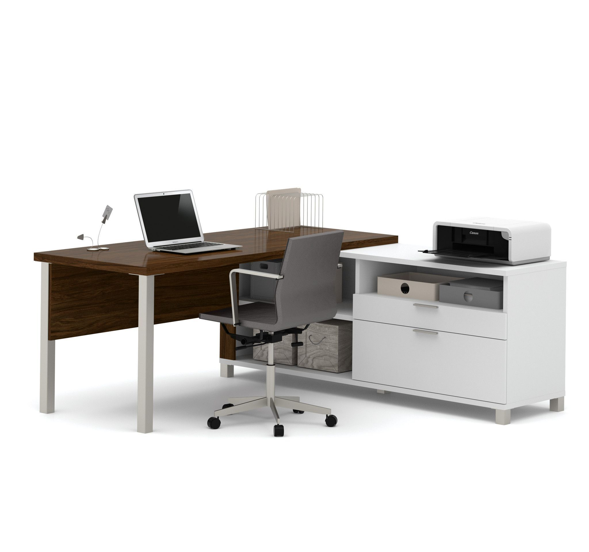 Premium Modern L-shaped Desk in Oak Barrel & White | Barrels, Desks ...