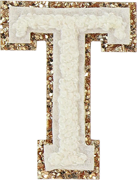 Blanc Glitter Varsity Letter Patches In 2021 Varsity Letter Lettering Glitter Stickers