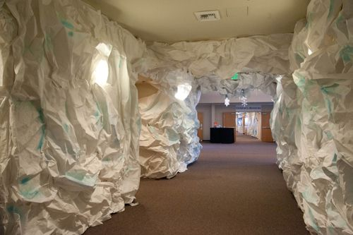 Rolls of craft paper wadded up, then slightly smoothed out. Cut length to  wall  Hallway DecorationsArctic DecorationsDecoration NoelCave ...