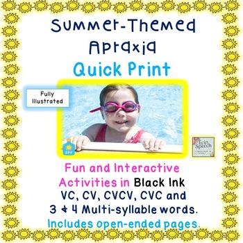 Summertime apraxia vc, cv, cvcv, cvc \ 3 \ 4 syllable words - cv words