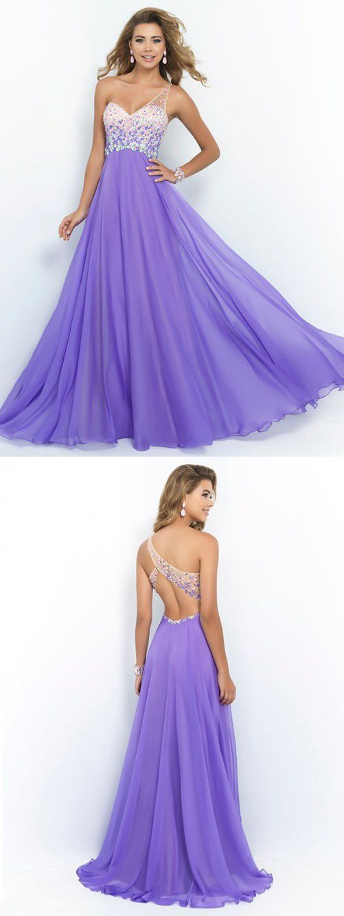 A-line Princess One-shoulder Sleeveless Crystal Sweep Brush Train ... a842d2089d63