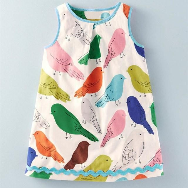 Toddler Kid Baby Girl Animal Cotton Dinosaur Vest Sleevelss Dress Outfit Clothes