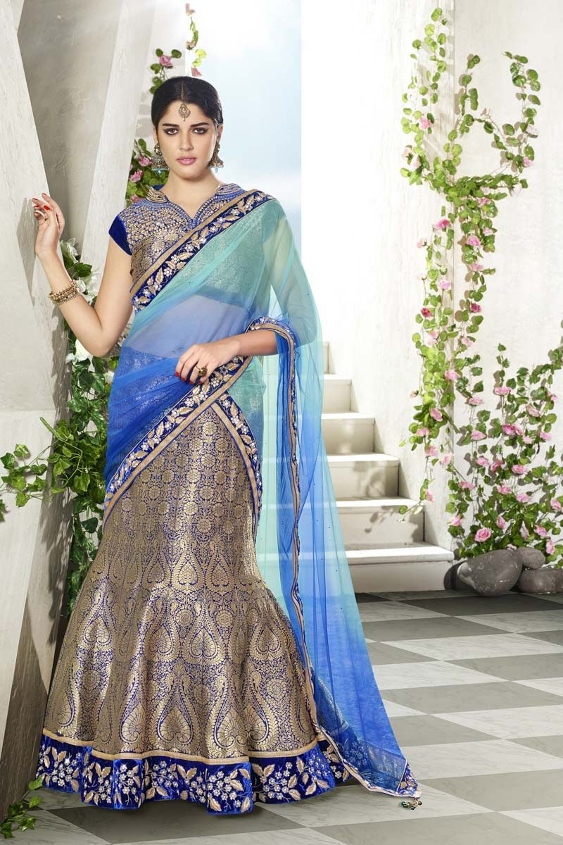 Blue Jacquard Wedding Lehenga | Indian outfit | Pinterest | Lehenga ...