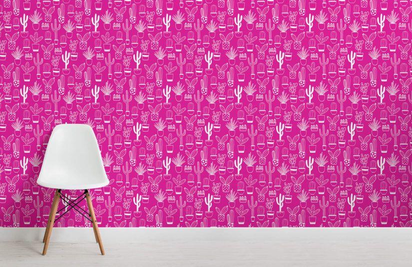 Naïve Cactus Pink Wallpaper Pink wallpaper, Pink