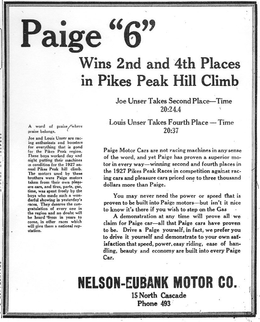 Paige Motor Cars At The 1927 Pikes Peak Hill Climb