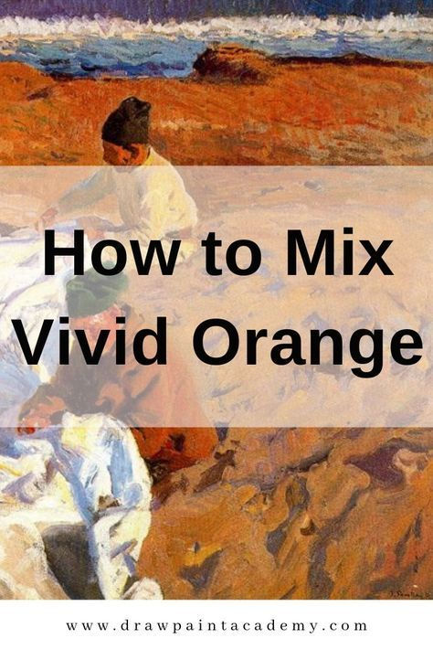 How to Mix Vivid Orange is part of Watercolor art, Art painting, Art, Acrylic painting techniques, Painting, Painting techniques - In this post I walk you through how to mix your own vivid orange using different red and yellow paints  The purpose of this exercise is to deepen your understanding of color mixing, color bias and the limitations of our paints  What Colors Make Orange  Color Bias  Warm and Cool Yellows and Reds What You Need for This Exercise Mixing Different Oranges Key Takeaways and Other Tips for Using Orange in Painting Additional Readings Joaquín Sorolla, Mending Sails, 1904 What Colors Make Orange  Let's take a step back to color mixing 101  Orange is a secondary color  To mix