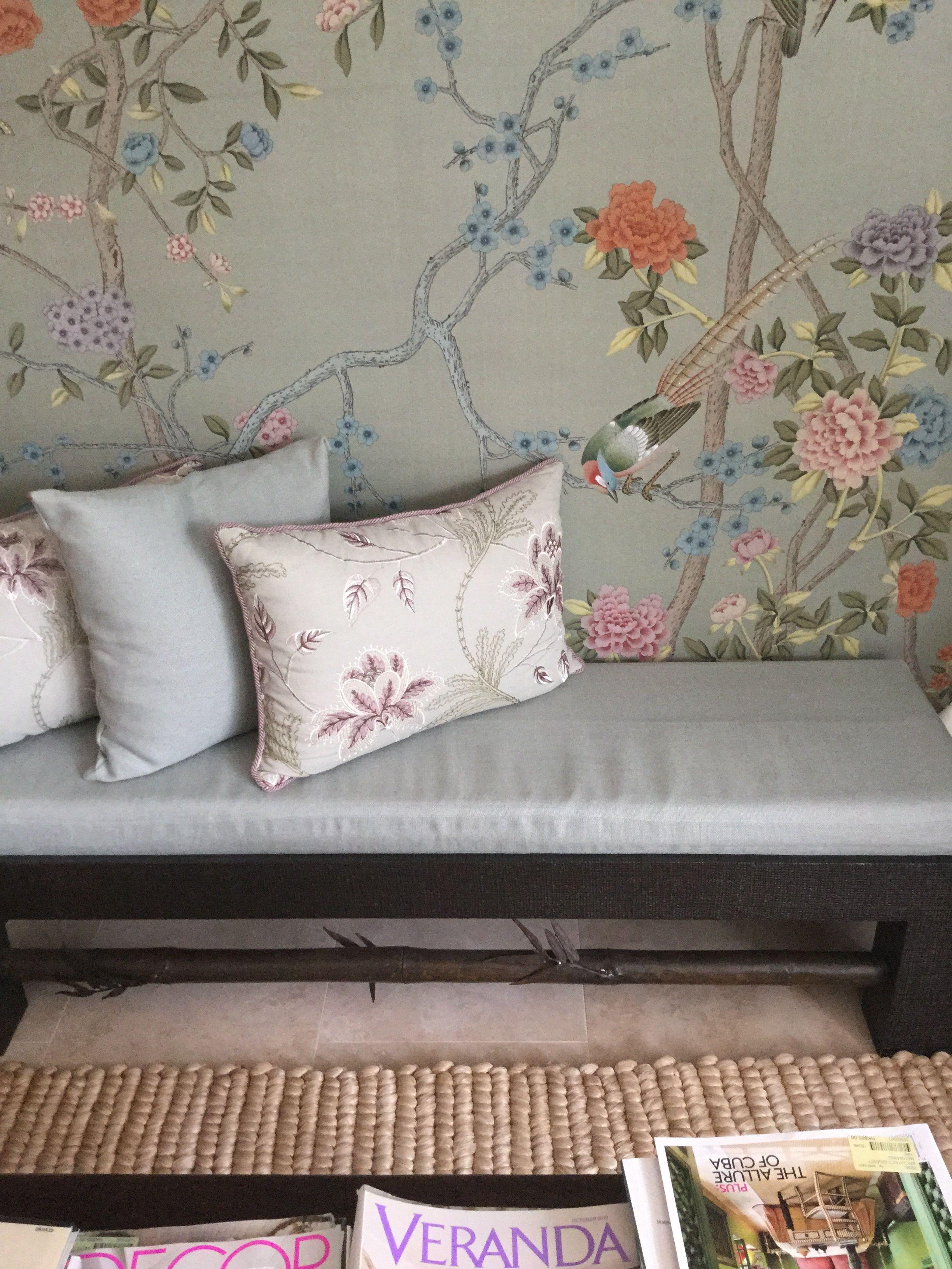 Lamont bronze bench, Colefax cushions & DeGournay silk in my Saikung house