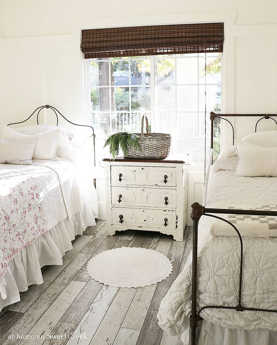 Cottage farmhouse bedroom shabby chic at home on