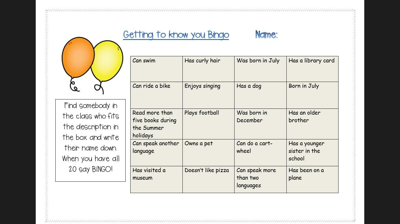 Pin About Back To School Activities And Getting To Know