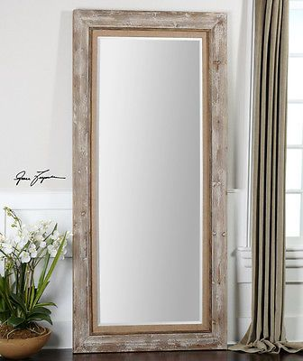 French Country Distressed Wood Leaning Floor Mirror 82 Oversize Xl