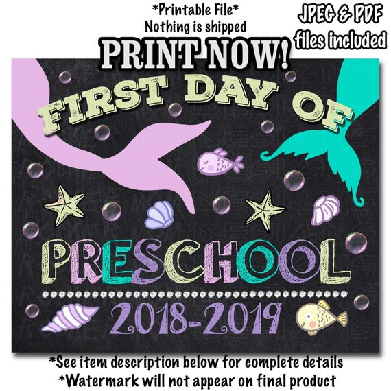 picture relating to First Day of Preschool Sign Printable referred to as Initial Working day of PRESCHOOL Indicator Quick Down load, Chalkboard