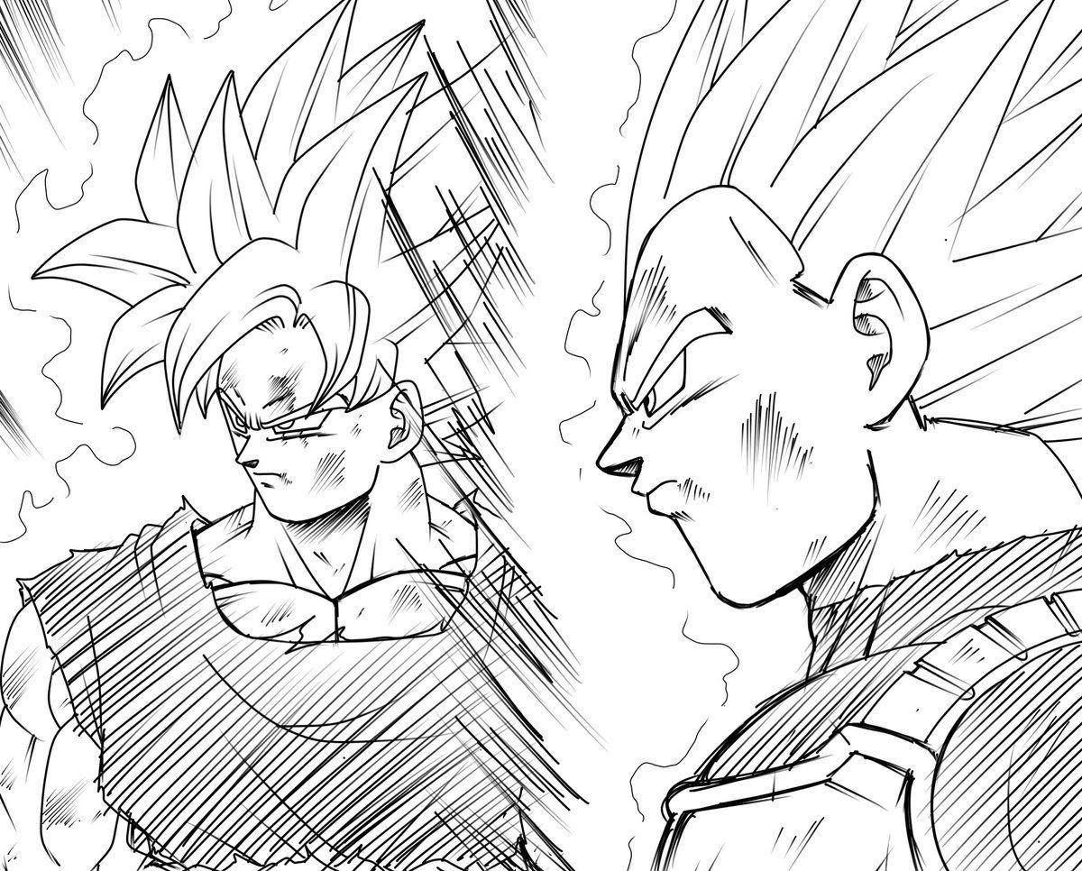 Desenhos Para Colorir Colorir Goku: Goku SSB Kaioken & Vegeta Migatte-Blue Form