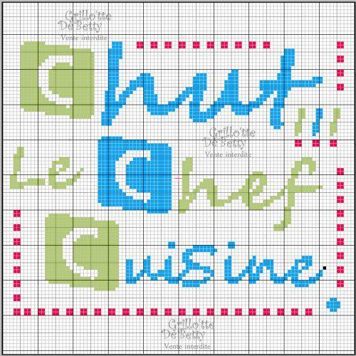 Cuisine kitchen chef point de croix cross stitch - Broderie point compte grille gratuite ...