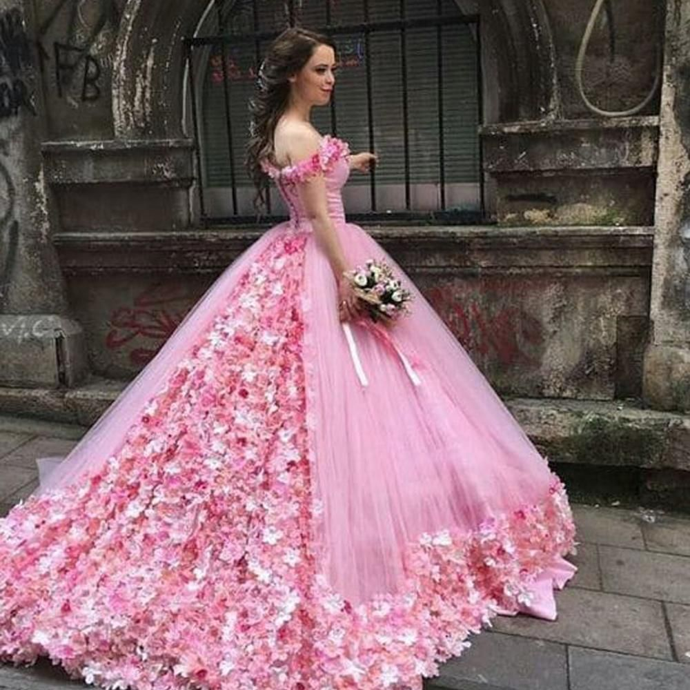 Flowers Prom Dresses 2020 Off The Shoulder Lace Up Back Court Train Evening Dresses Pink Evening Gowns Arabic Party Dresses Pink Evening Gowns Pink Ball Gown Pink Wedding Dresses [ 1000 x 1000 Pixel ]