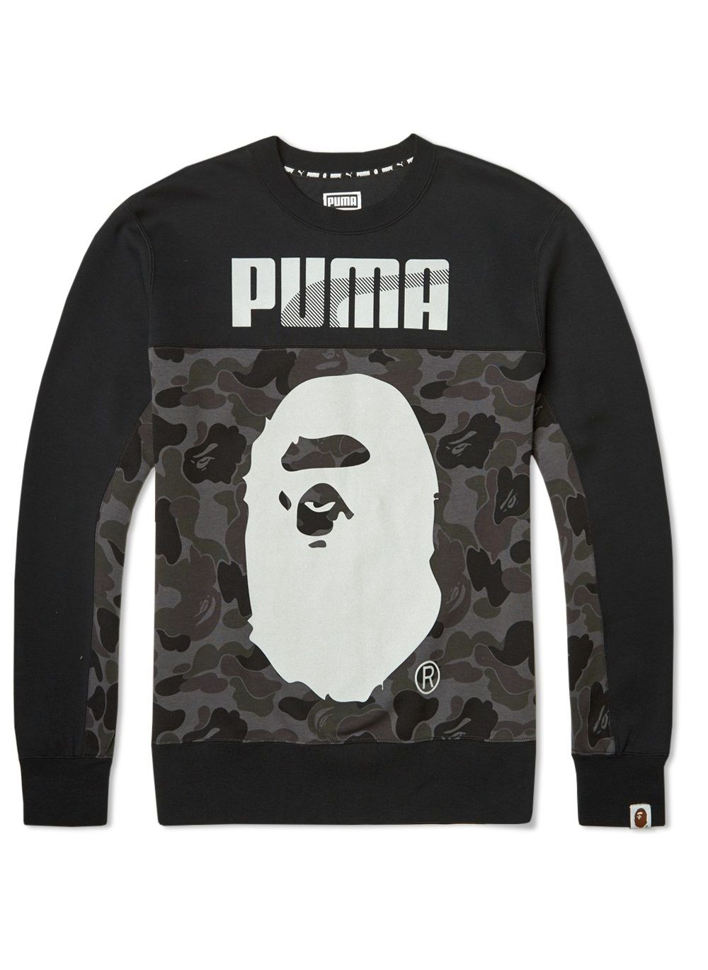 BAPE X Puma Crew Camouflage Sweat A Bathing Ape Sweater Shirt Men s  Sweatshirt in Camo Black 74a0cb7e54