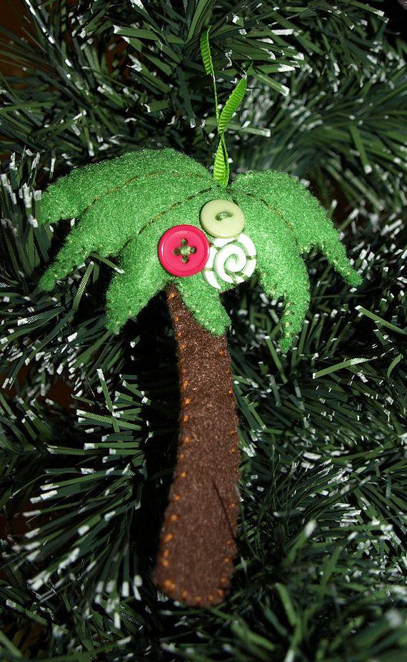 Christmas Ornament Felt Ornament Aloha Palm Tree Felt Ornament