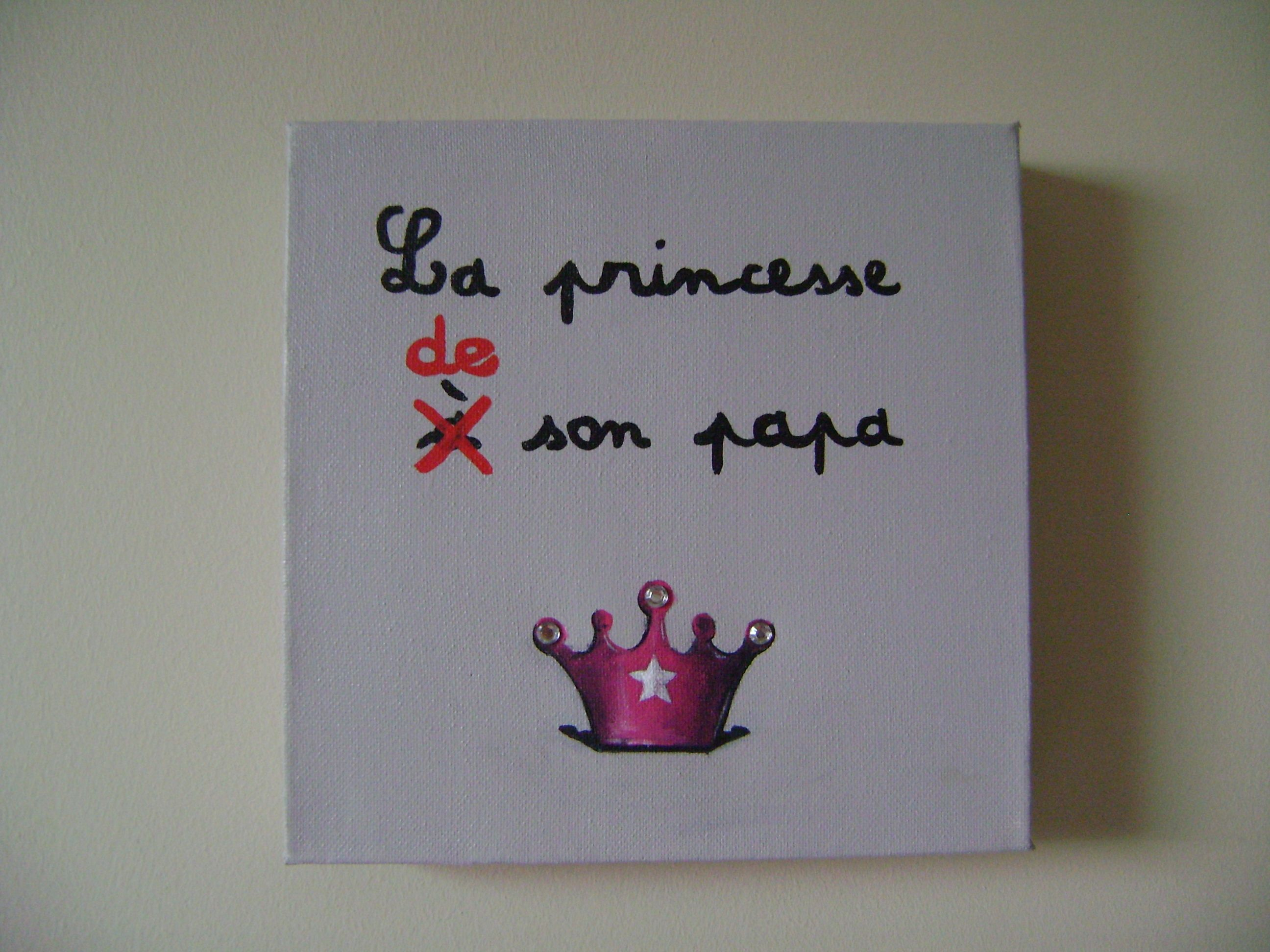 Les tableaux de cynthia B.  -  La princesse à son papa 20x20