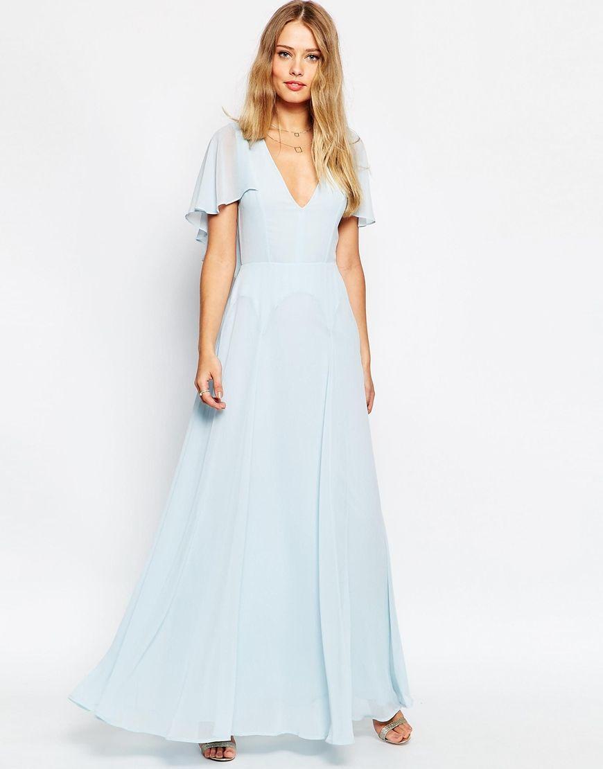 PETITE Flutter Sleeve Cape Back Maxi Dress