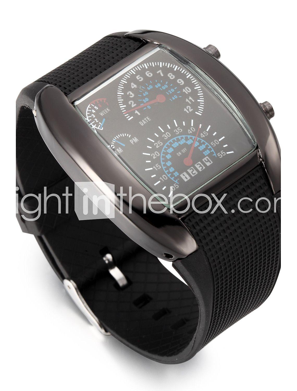 45464c80e Pánské Digitální Náramkové hodinky Sportovní hodinky Kalendář LED Rychloměr  Pryž Kapela kreativita Černá 369042 2018 – Kč132