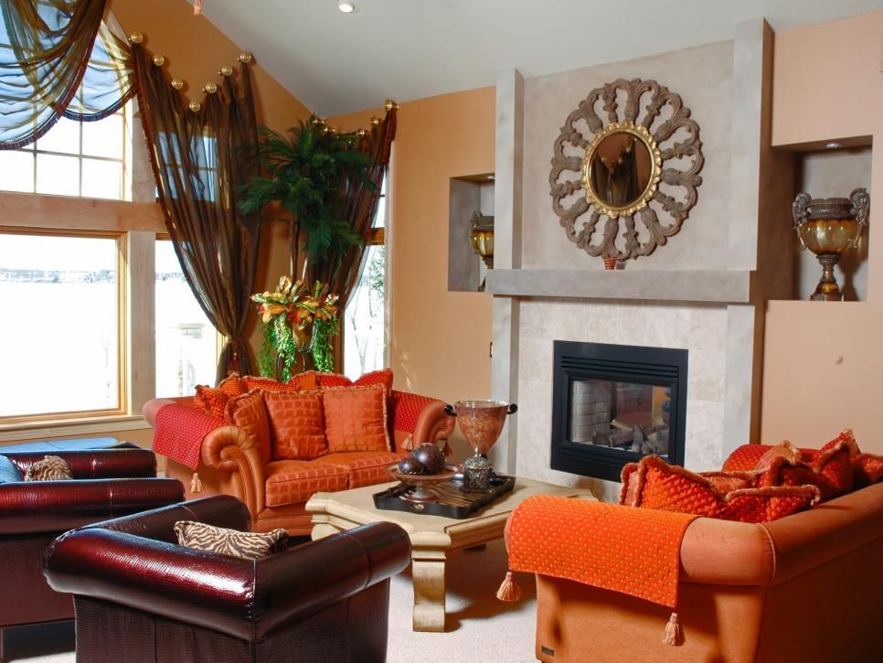 Burnt Orange And Brown Living Room Property fall color trends | fireplace design, hgtv and room