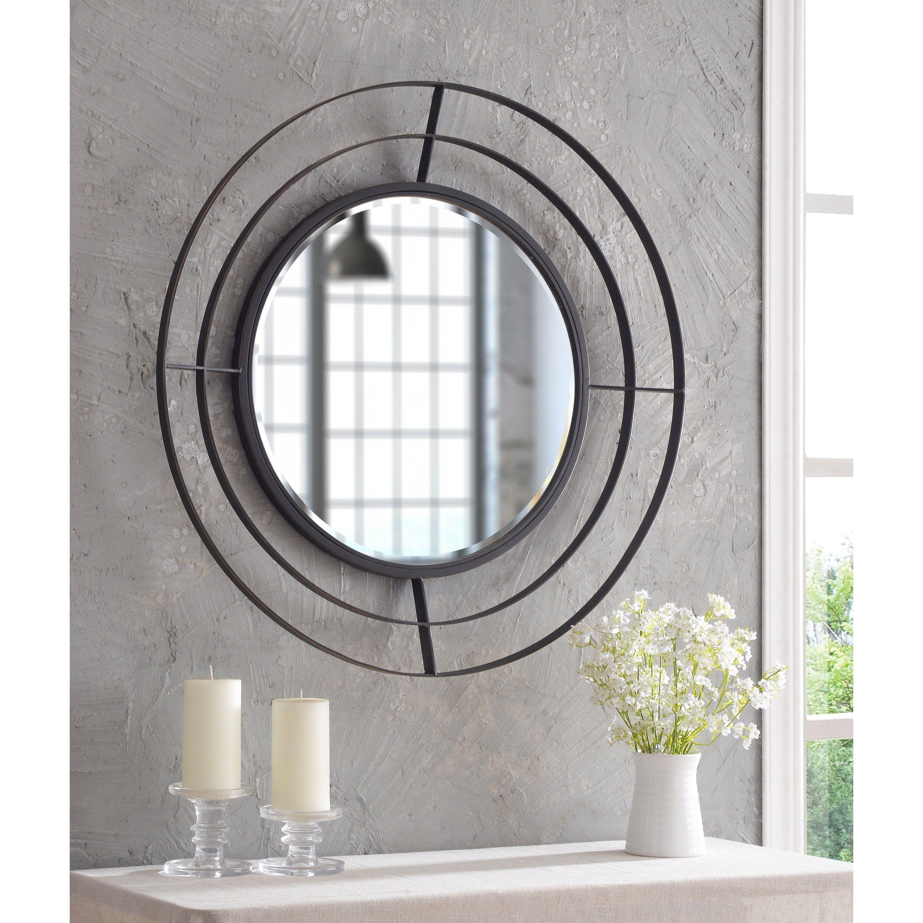 Harrison Bronze With Gold 32 Inch Diameter Round Wall Mirror