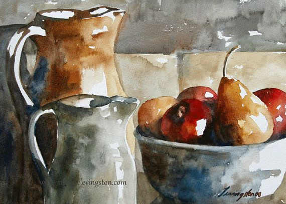Still Life Painting Watercolor Painting Of Fruit Art Print Fruit