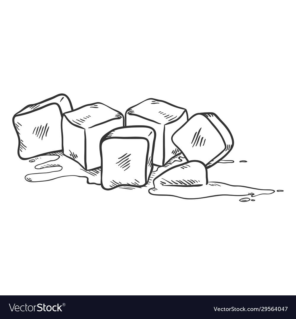 Vector Black Sketch Illustration Ice Cubes Melting Download A Free Preview Or High Quality Adobe Ill Ice Cube Melting Coloring Pages Coloring Pages For Kids