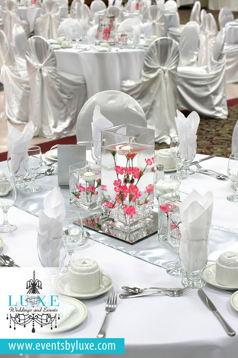 White silver and pink wedding decor, white and silver reception ...