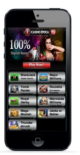 ¿Ya estas pensando en comprar  el nuevo Iphone 5? Sólo  en Casino Epoca el mejor Casino Online puedes jugar todos tus juegos de Casino favoritos y retirar tus ganancias desde tu iphone. ¡No esperes mas y disfruta de Casino Epoca!