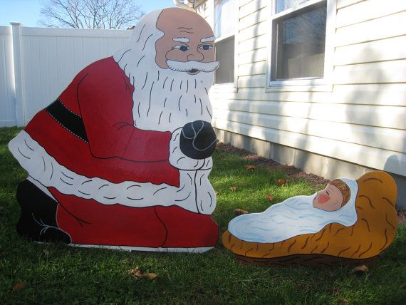 Santa Claus Kneeling Over Baby Jesus Handmade Wooden Christmas Lawn