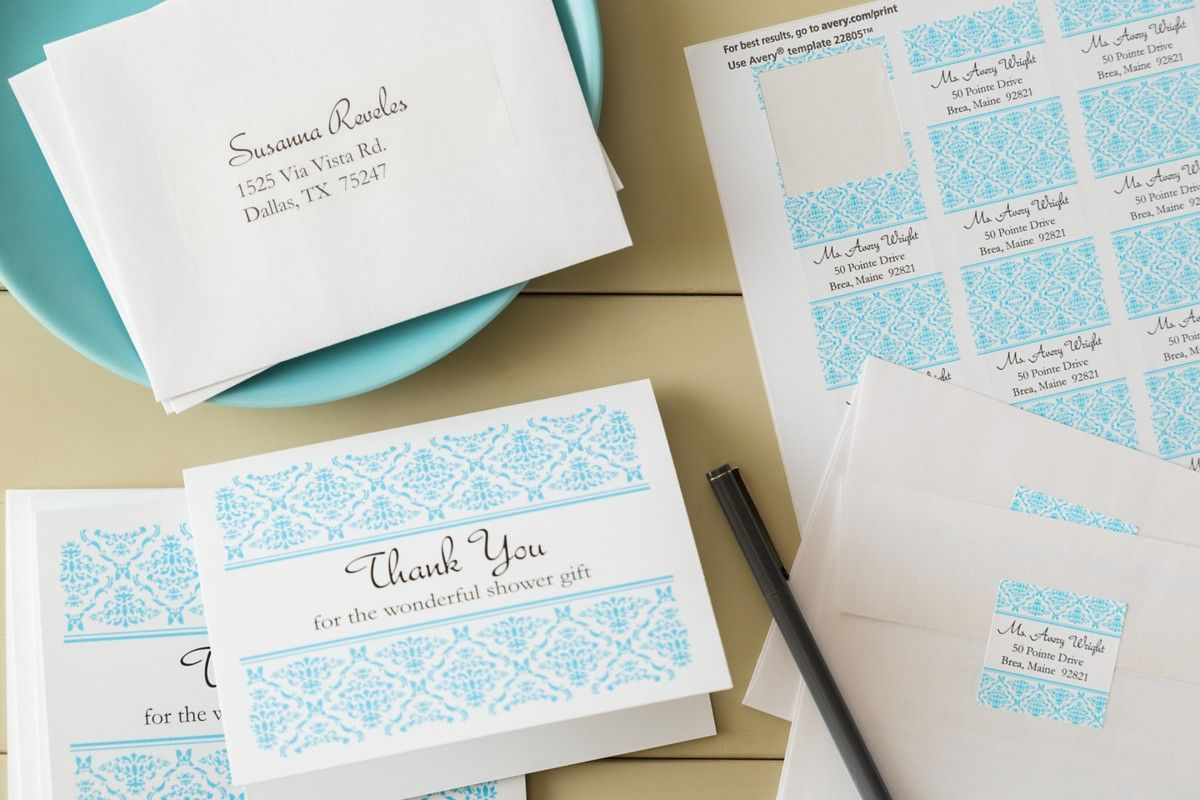 These Pretty Thankyou Cards And Matching Labels Were Created Using - Avery thank you card template