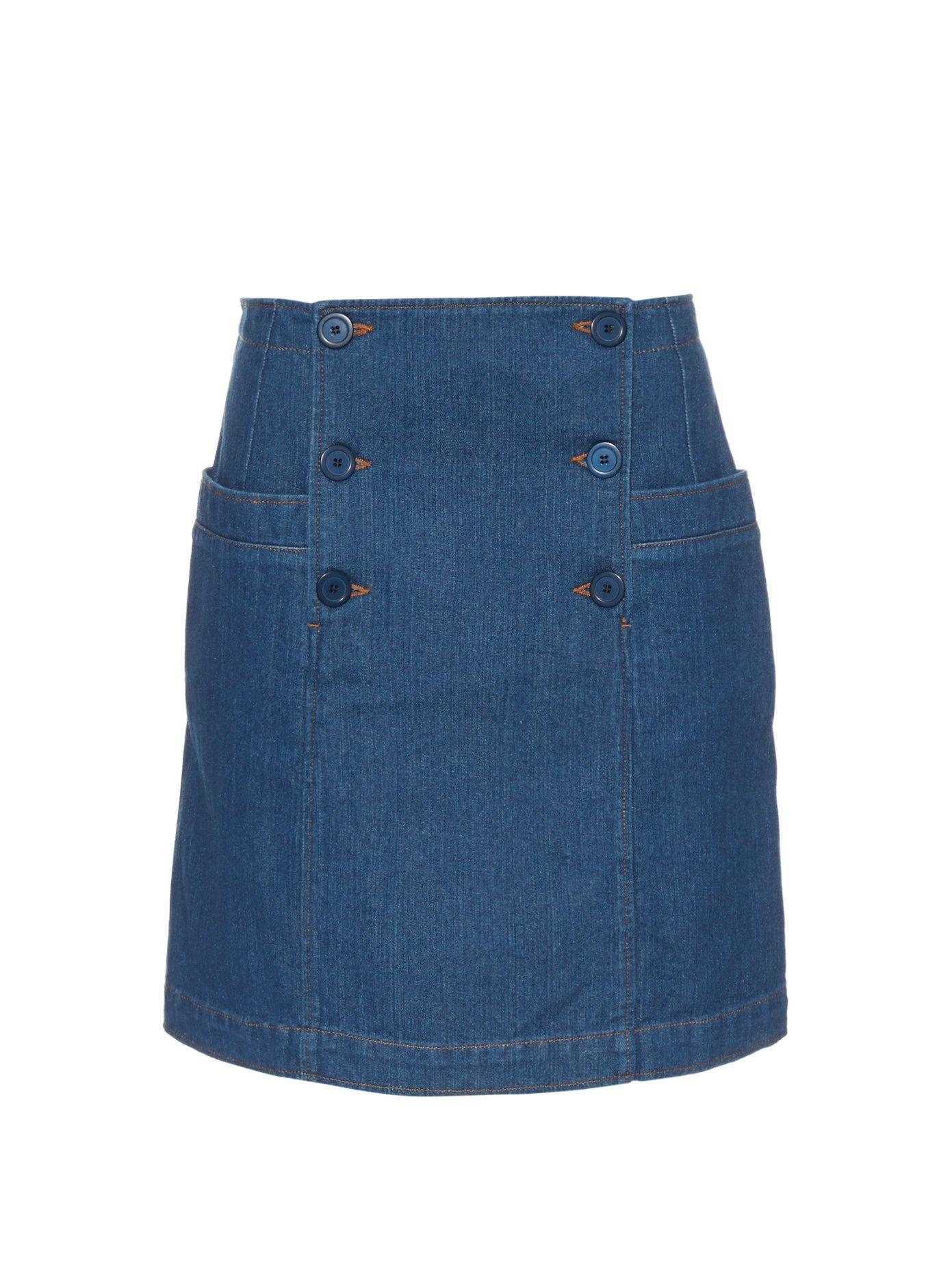 f76787c0b Cut a neat and chic silhouette in A.P.C.'s indigo-blue denim skirt ...