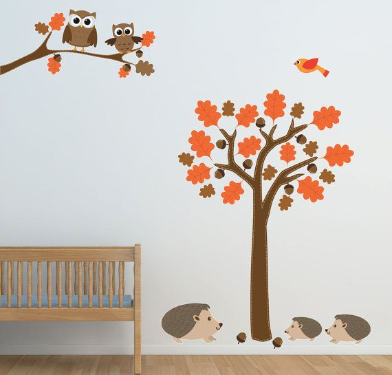 owl sticker,Woodland Wall Decal,nature wall decal,bird wall decal,owl wall art,baby wall decal,barn owl,tree wall decal Owl Wall Decal