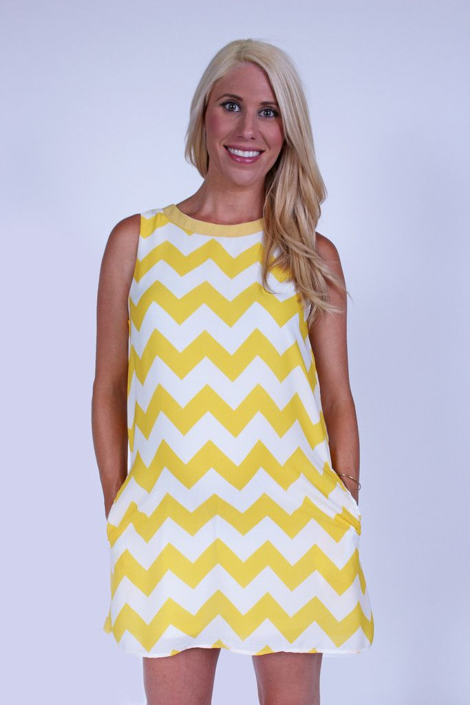 Yellow & White Chevron Maternity Shift Dress With Pockets | Summer ...