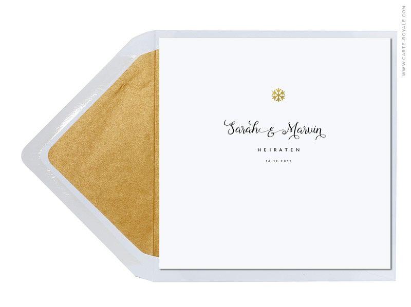 Hochzeitseinladungskarte Winterzauber Mit Goldener Prägung.  Personalisierbar Im Online Shop: Www.carte Royale.com