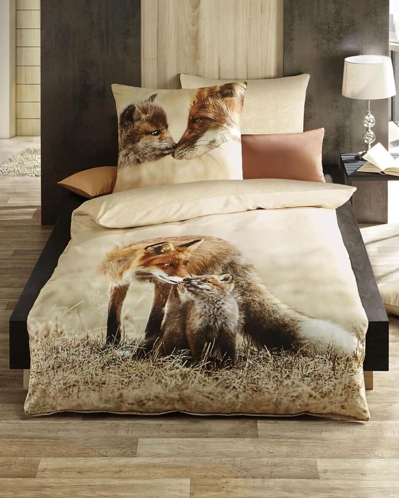Kaeppel Satin Bettwasche Familienbande Fuchs Natur Braun 135x200