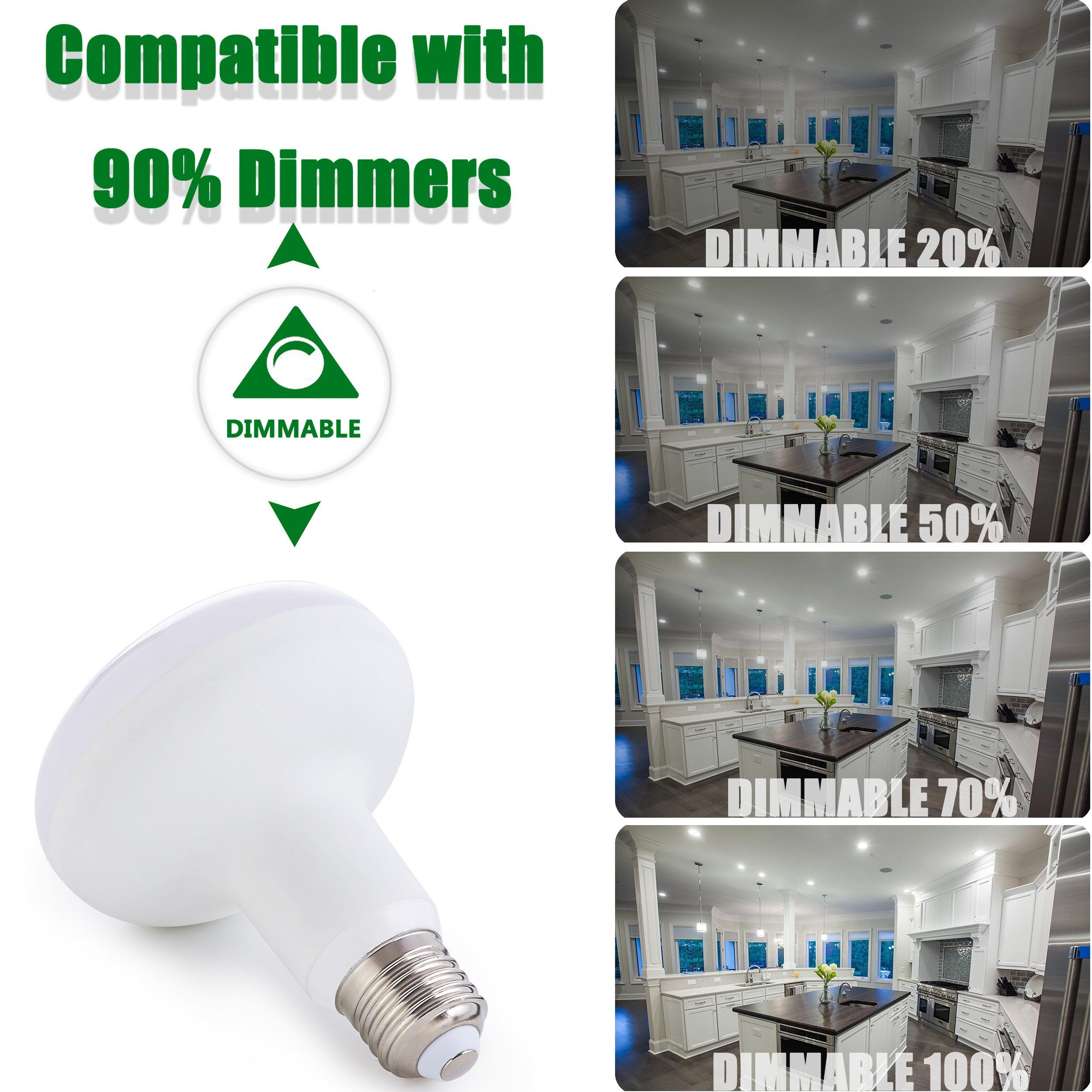 12w Br30 Dimmable Led Bulb 12w 120w Equivalent 120v 5000k Daylight 1200 Lumens Flood Light Bulb 120a Beam Angle E26 Medium Led Bulb Dimmable Led Flood Lights