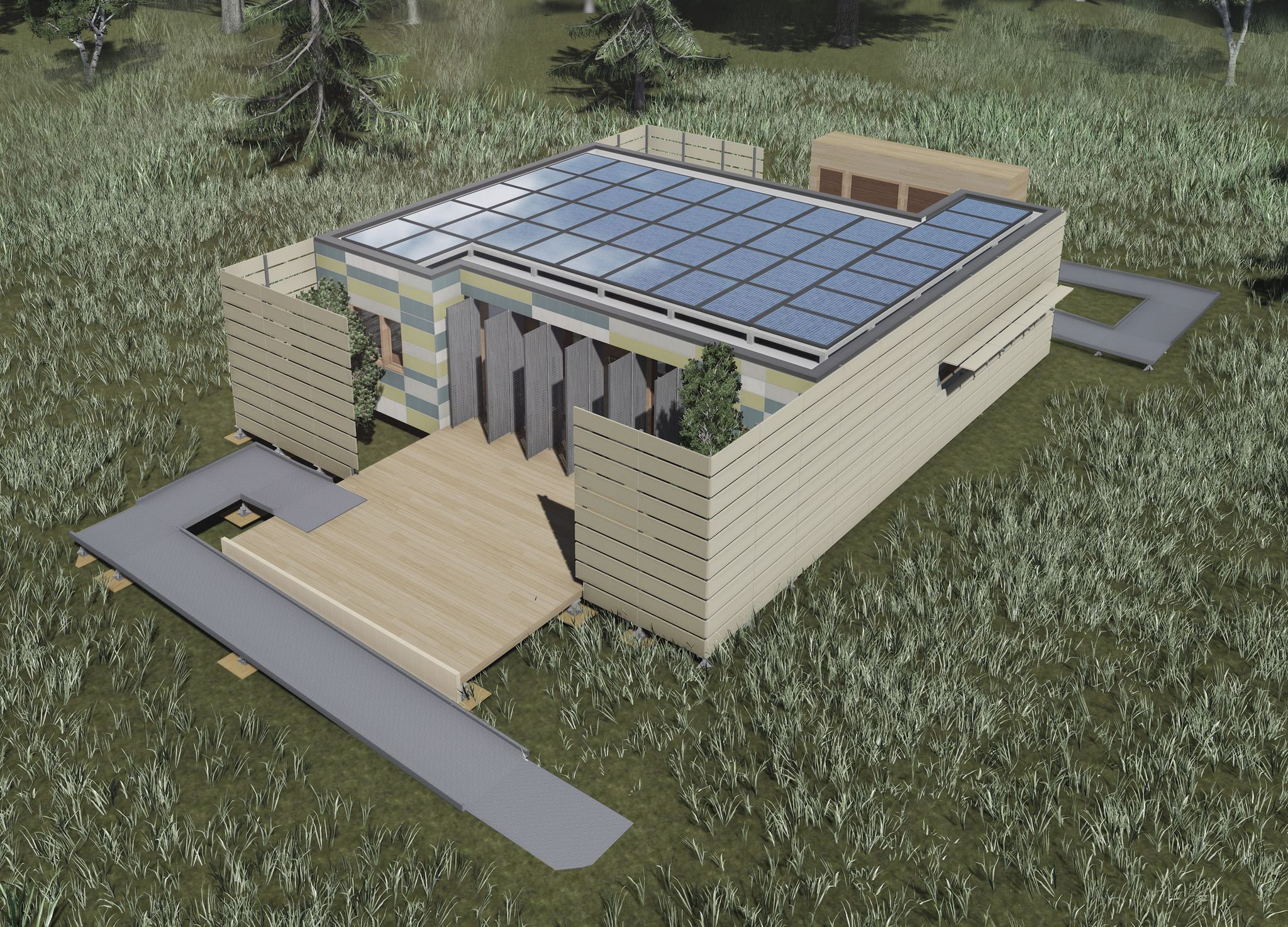 A Computer Generated Rendering Of The Crowder College And Drury University Solar Decathlon 2015 House Green Energy Solar Solar Energy Diy Solar Power Energy