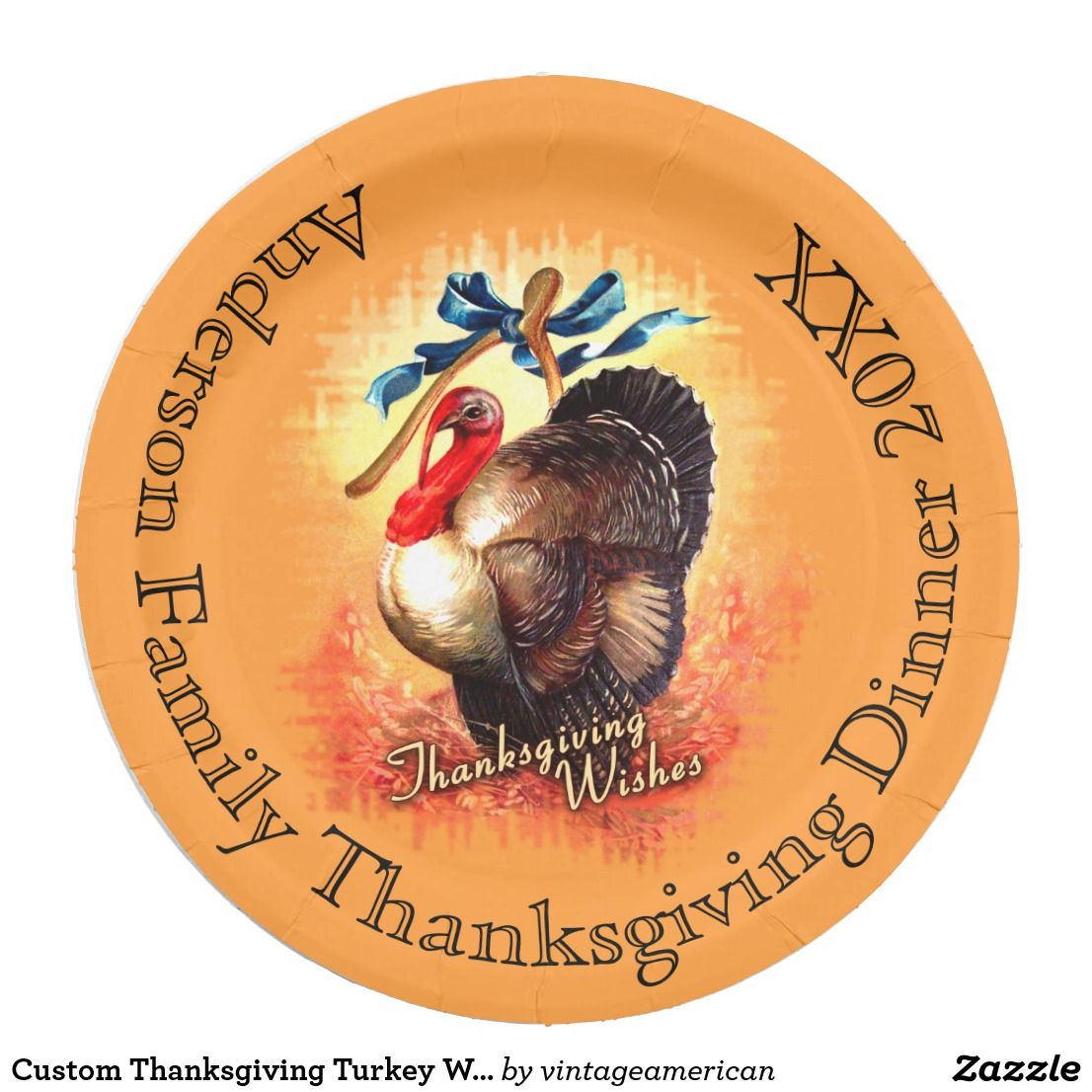 Custom Thanksgiving Turkey Wishes Paper Plates  sc 1 st  Pinterest & Custom Thanksgiving Turkey Wishes Paper Plates | Vintage American ...