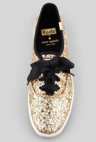 NEW IN BOX Kate Spade Keds Gold Glitter