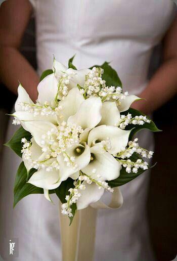 Gorgeous Bridal Bouquet Featuring White Calla Lilies White Lily Of The Valley Lily Of The Valley Wedding Bouquet Wedding Bouquets Lily Of The Valley Bouquet