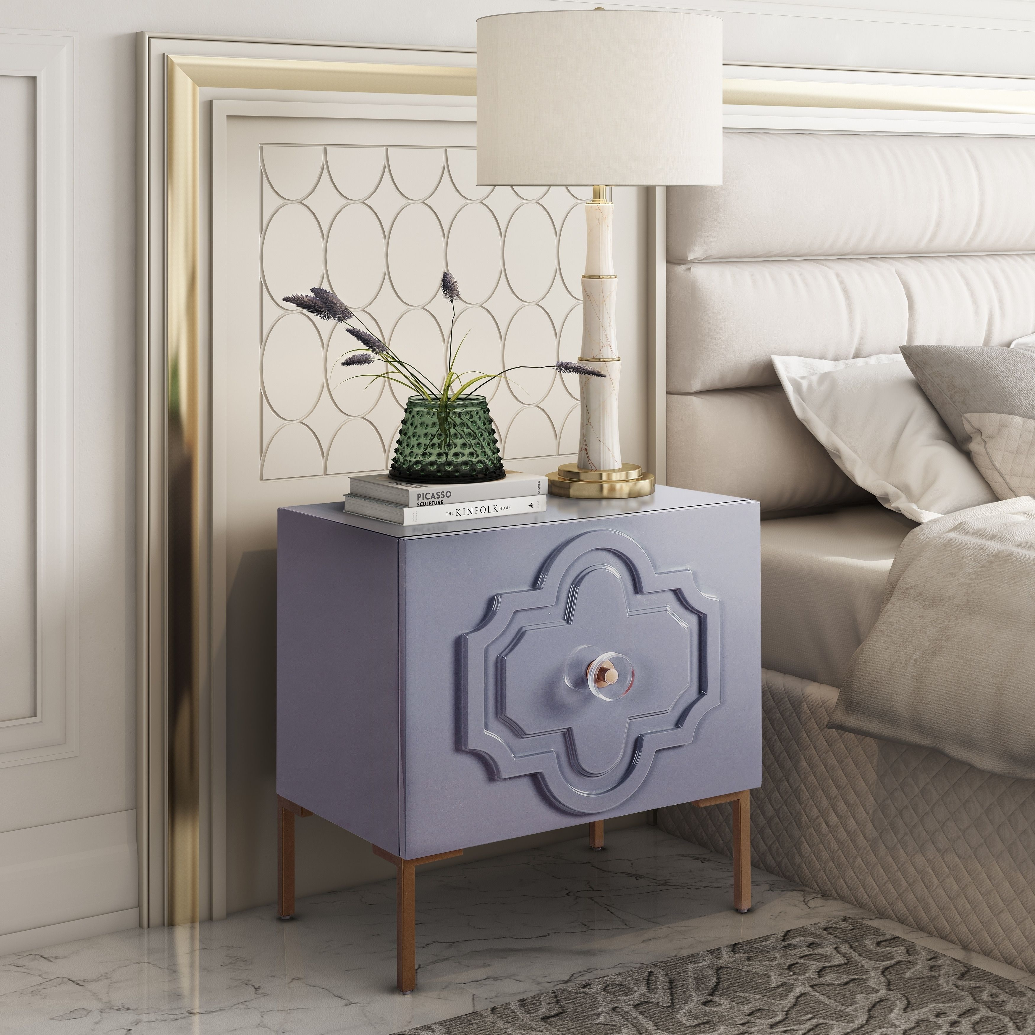 Anna Grey Lacquer Side Table, Gray Furniture, Bed frame