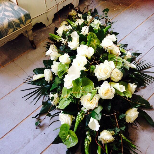 Funeral Flowers Beautiful White Cream Green Coffin Spray White Roses Anthurium Www Thefloralart Casket Flowers Funeral Flowers Funeral Flower Arrangements