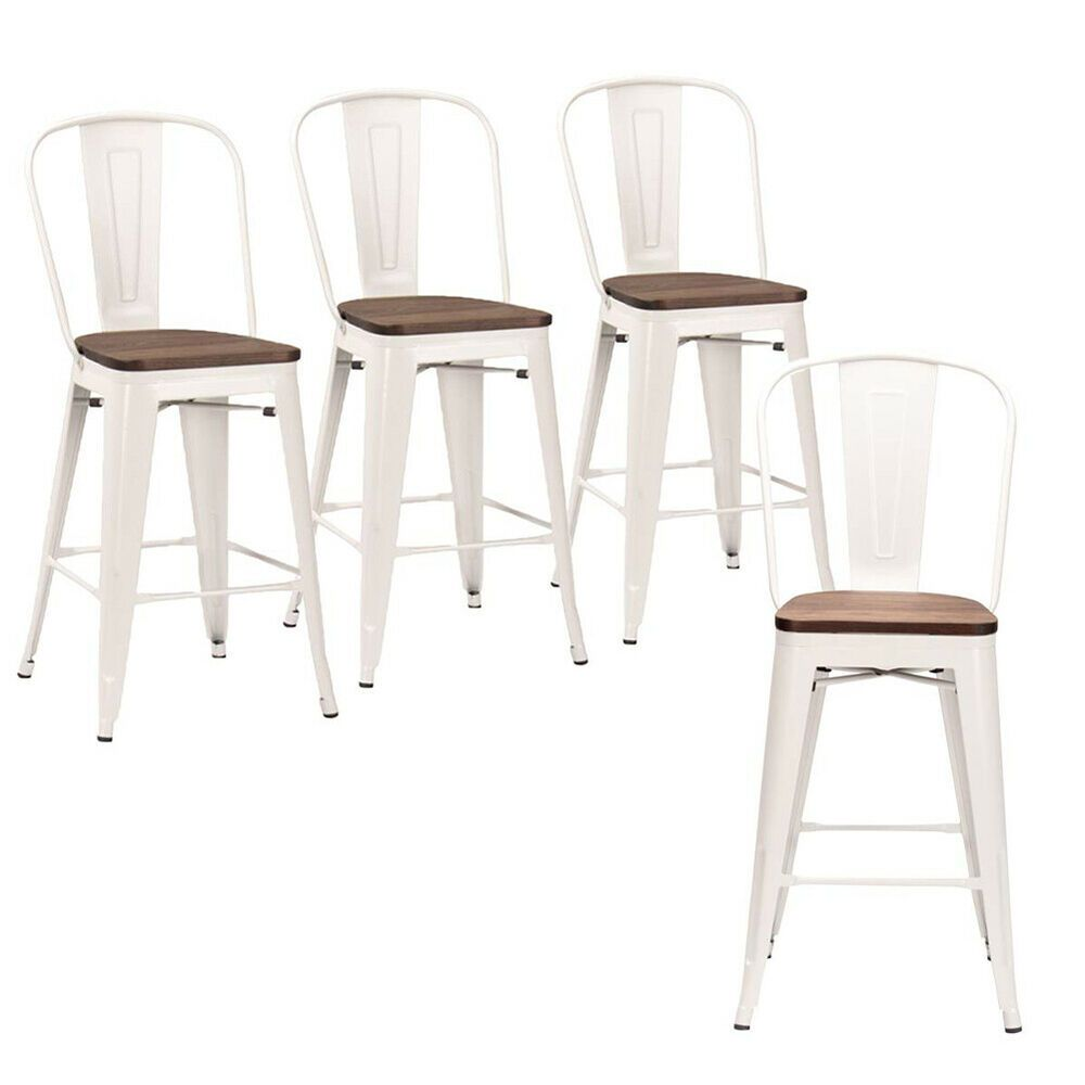 4 Metal Bar Chairs 30 Counter Height Bar Stool Dinning Chair