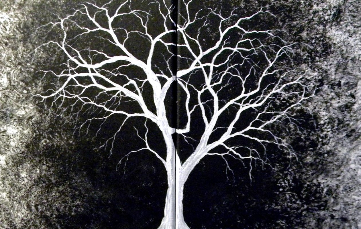 Black And White Tree Canvas Introverted Painting White Tree