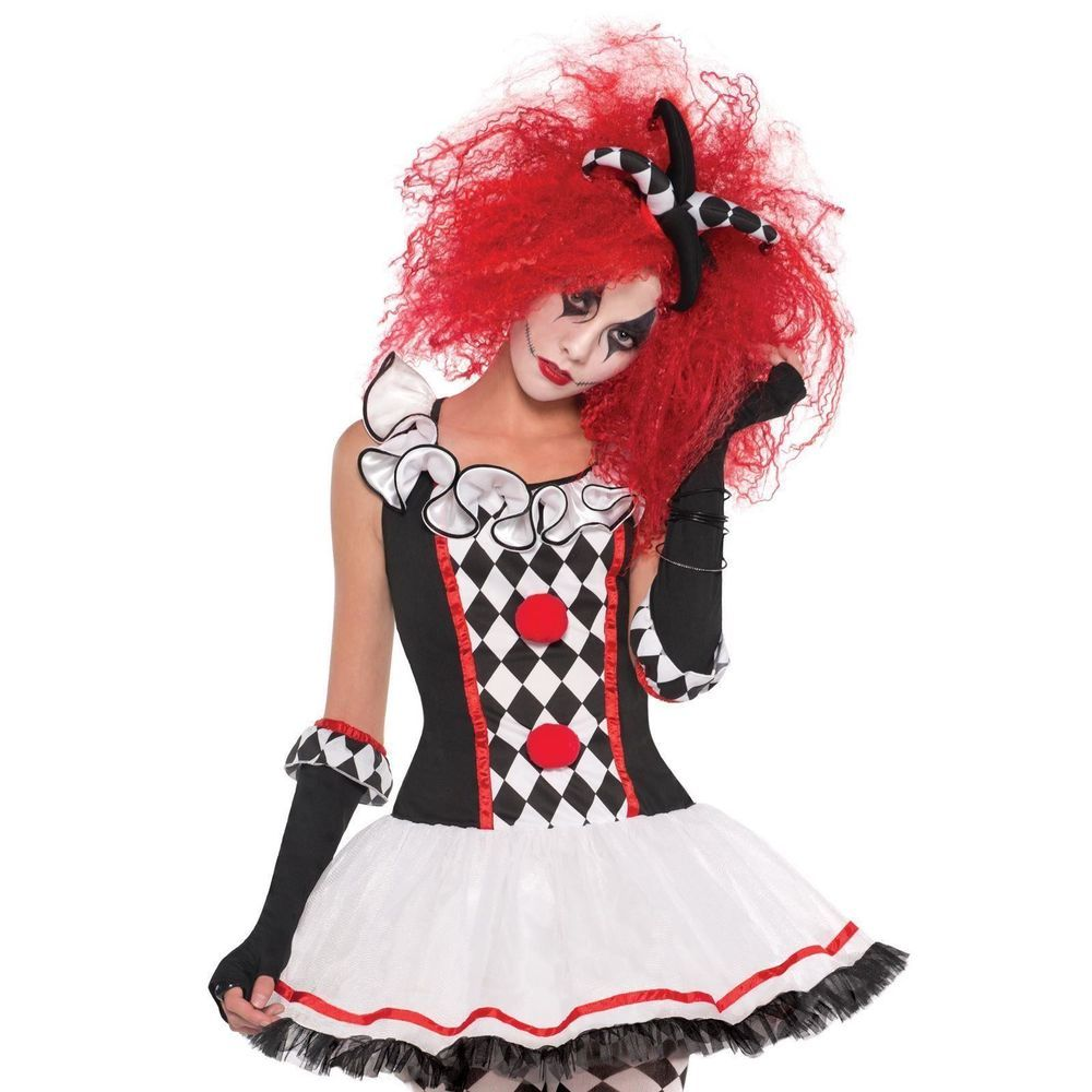 Teen S M L Scary Halloween Clown Jester Harley Quinn Honey Fancy ...